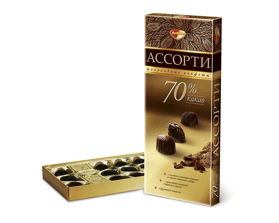 Ассорти шоколадные конфеты 70% какао