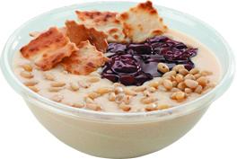 Каша гурьевская с орешками, чипами и сладкой начинкой на выбор (вишня, крем карамельный, мед, клубника, сгущенное молоко, десерт
