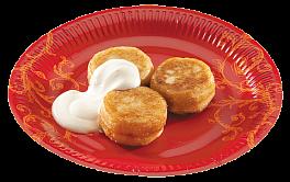 Сырники 3 шт. Со сметаной или сладкой начинкой на выбор (вишня, крем карамельный, клубника, мед, сгущенное молоко, десерт